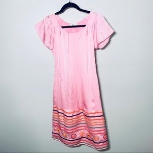 Prada pink silk embroidered hem dress size 38/6